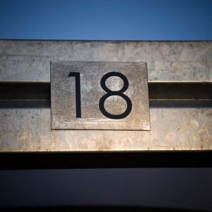 Carport, Kongefolden, Skanderborg, detalje med husnummer