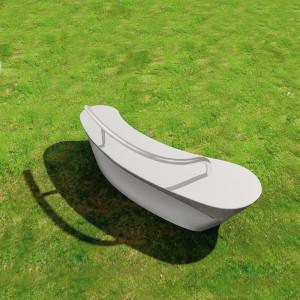 Boomerang bænk og plint, hvid med ryglæn, udendørs.