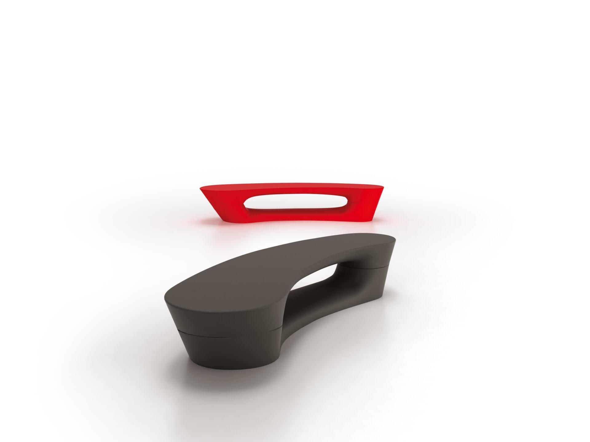 Boomerang bænke og plinte, rød og sort
