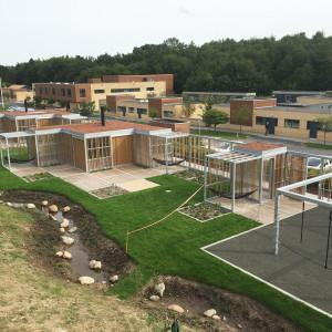 Sensing overdækning og huse, Langagerskolen Aarhus, fugleperspektiv