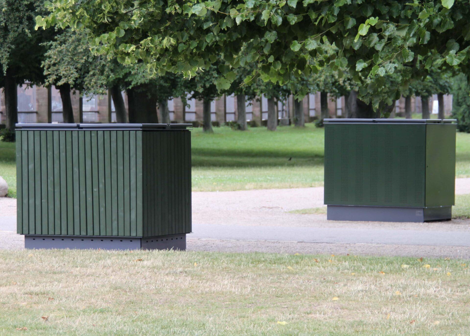 Deposit overdækning og miljøstation, variationer med træ- og metalbeklædning