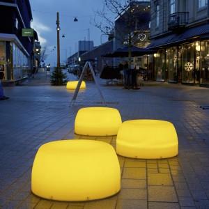 Lightdrops Plinte i mørke, Kongensgade, gågade i Esbjerg