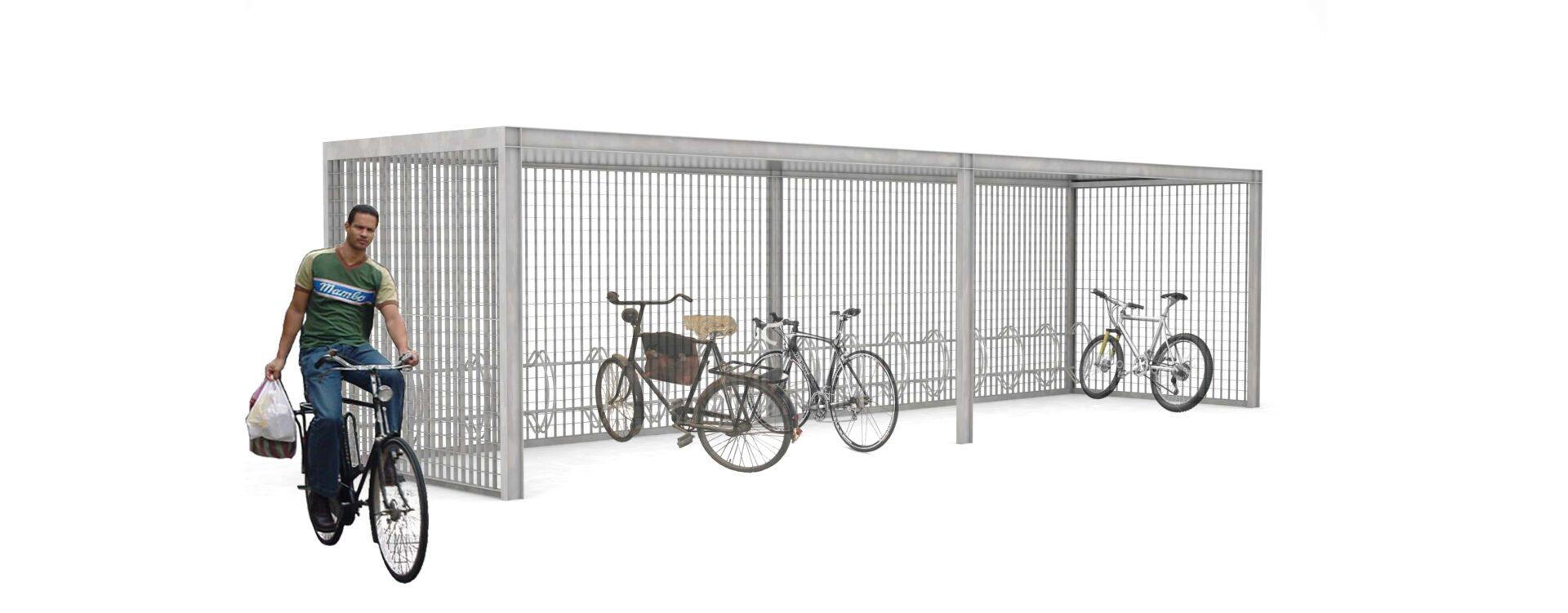 Keep cykeloverdækning med integrerede cykelstativer