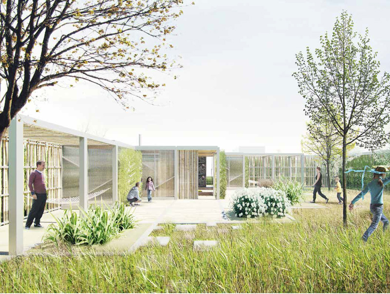 Sensing overdækning og huse, rendering, Langagerskolen Aarhus