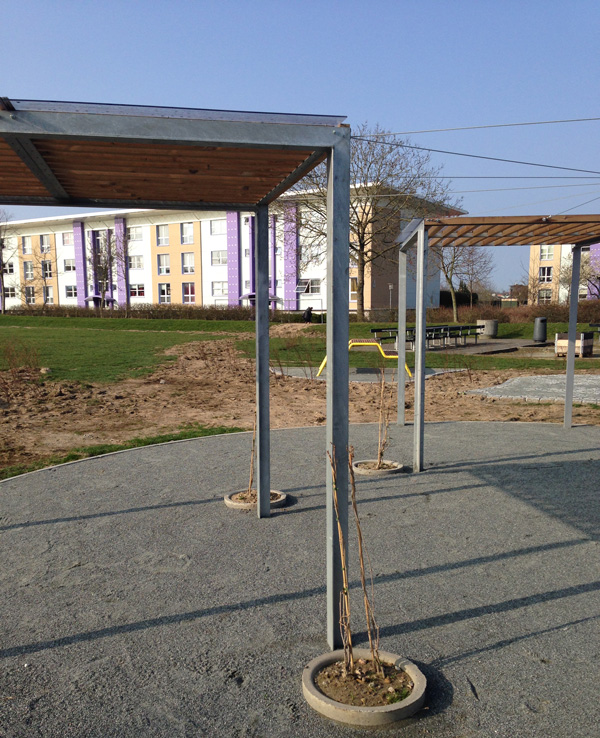 Frame overdækning og pergola i brug i Sønderborg Kommune