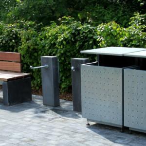 Parkline bænk, vandstander og affaldskurve